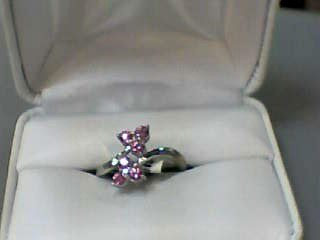 Pink Sapphire Lady's Stone & Diamond Ring 2 Diamonds .02 Carat T.W.