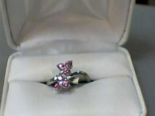 Pink Sapphire Lady's Stone & Diamond Ring 2 Diamonds .02 Carat T.W.