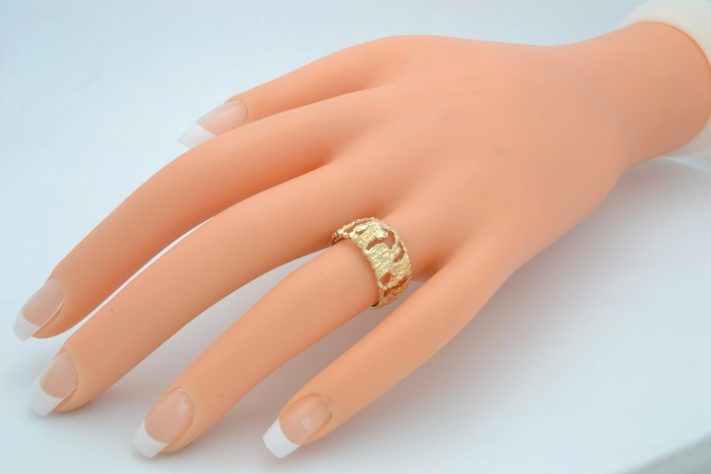 ESTATE OPEN NUGGET RING BAND SOLID 14K YELLOW GOLD UNISEX SIZE 6.75