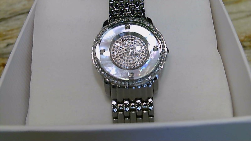 LADY'S FOSSIL es-1700 watch pink face rinestones