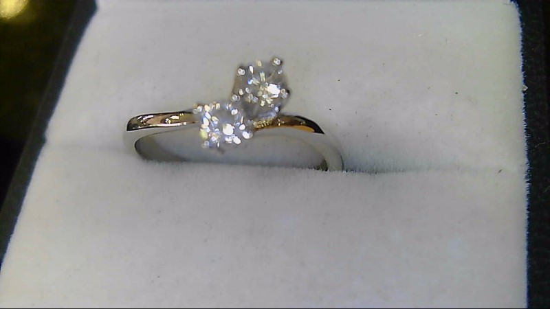 lady's sterling silver 925 3/8cttw 2 diamond ring