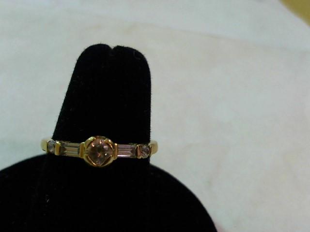 White Stone Lady's Stone Ring 21K Yellow Gold 3.1g