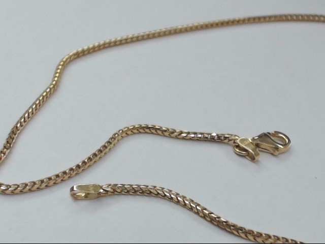 "ESTATE 20"" BOX NECKALCE CHAIN SOLID 14K YELLOW GOLD 1mm THICK 7.5g"