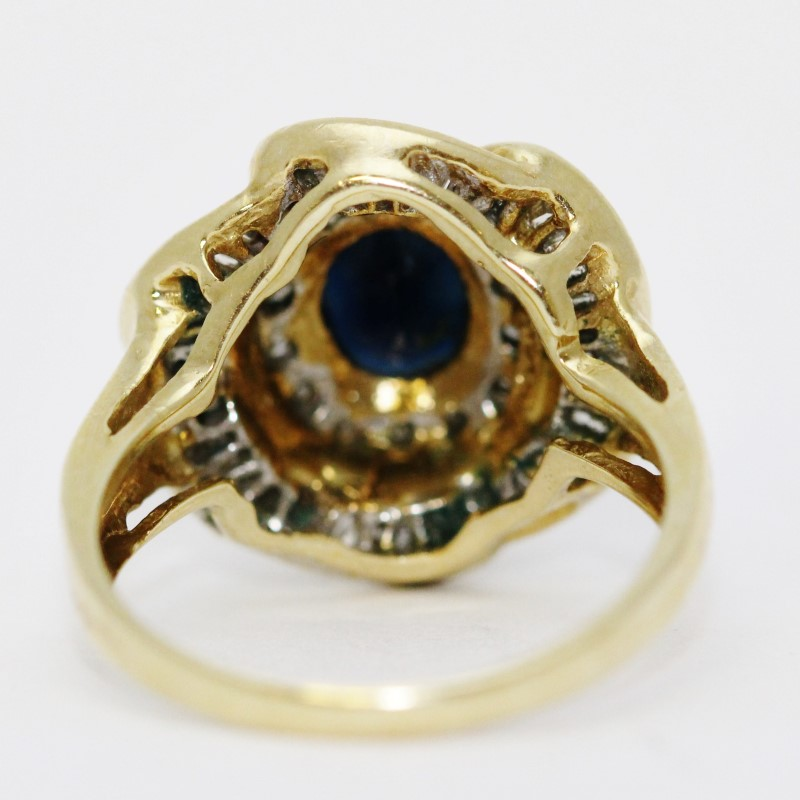 14K Yellow Gold Sapphire & Diamond Floral Inspired Flower Ring sz 7.5