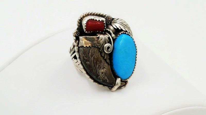 Men's Turquoise, Coral, Claw & Sterling Silver Ring Size: 10.3