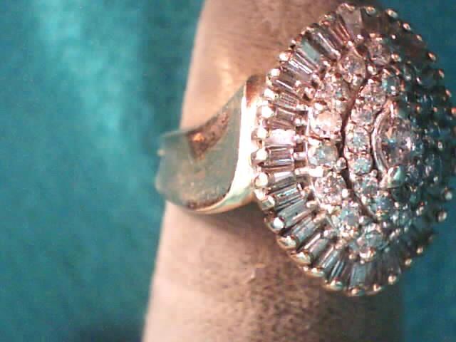 Lady's Diamond Cluster Ring 65 Diamonds 1.13 Carat T.W. 10K Yellow Gold 3.4dwt