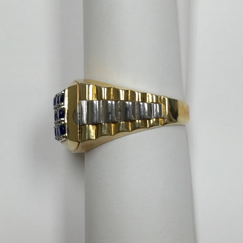 Synthetic Sapphire Gent's Stone Ring 14K 2 Tone Gold 9.1dwt Size:12.5