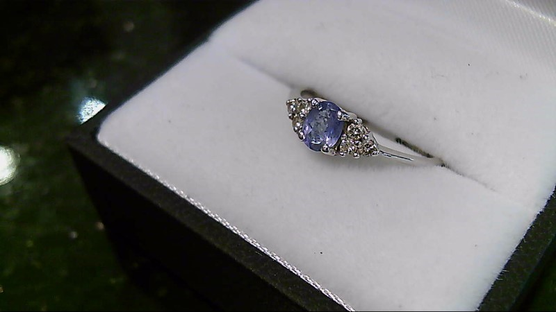 lady's 14k wht gold tanzanite and diamond ring