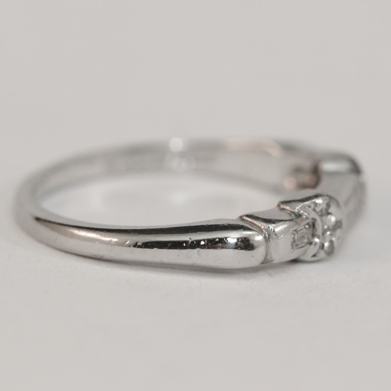 Platinum Baguette and Round Brilliant Diamond Wedding Band Size 5.25