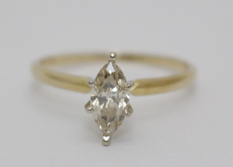 14k Yellow Gold .75ct Marquise Diamond Solitaire Engagement Ring sz 9
