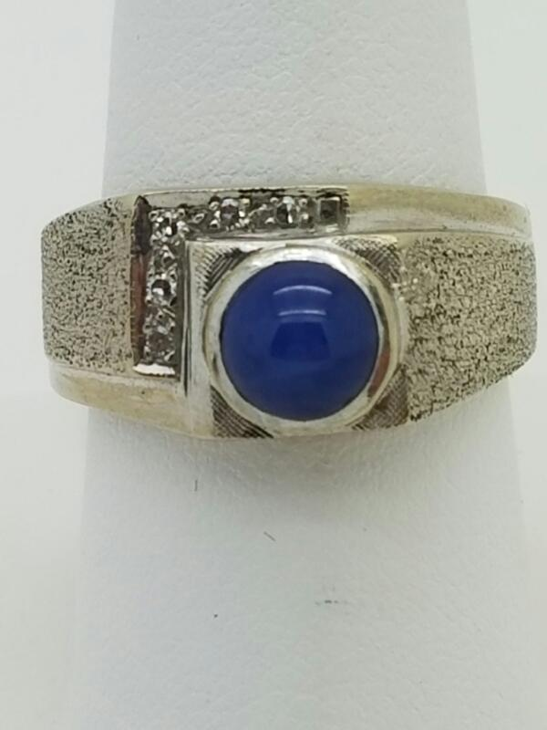 BLUE STONE(S) Synthetic Star Sapphire Gent's Stone & Diamond Ring