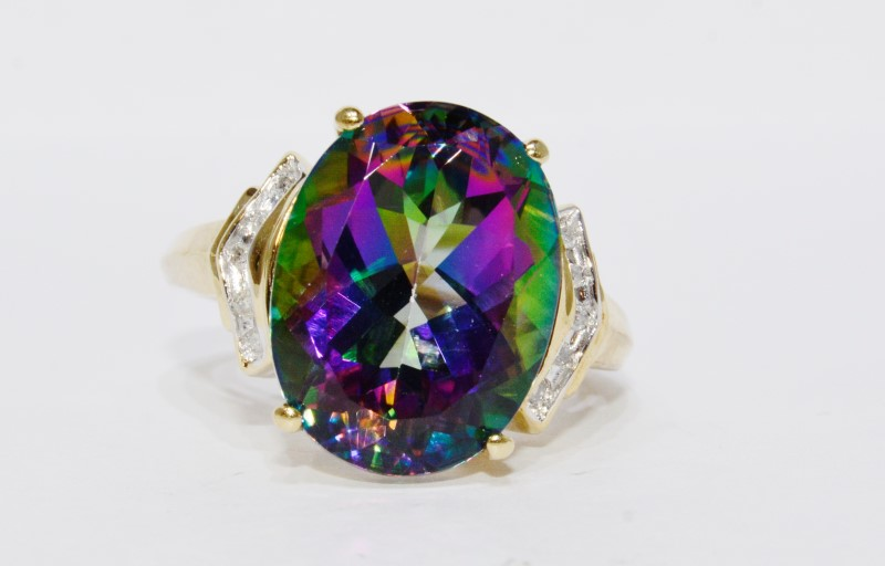 10K Yellow Gold Cathedral Large Mystic Topaz & Diamond Accent Cocktail Ring 6.5