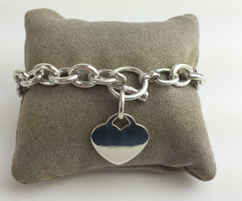 Sterling Silver Heart Link Bracelet 40.0g