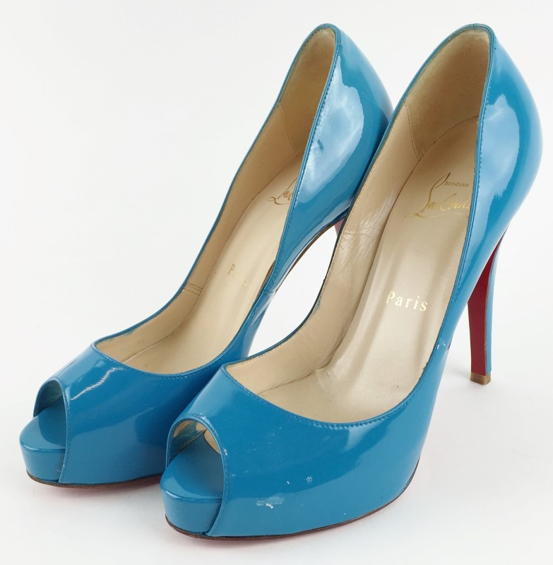 CHRISTIAN LOUBOUTIN VERY PRIVE 120MM PATENT BLUE GREEN JADE PUMPS SIZE 36