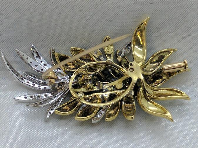 Gold-Diamond Leaf Brooch 52 Diamonds .52 Carat T.W. 18K 2 Tone Gold 17.5g