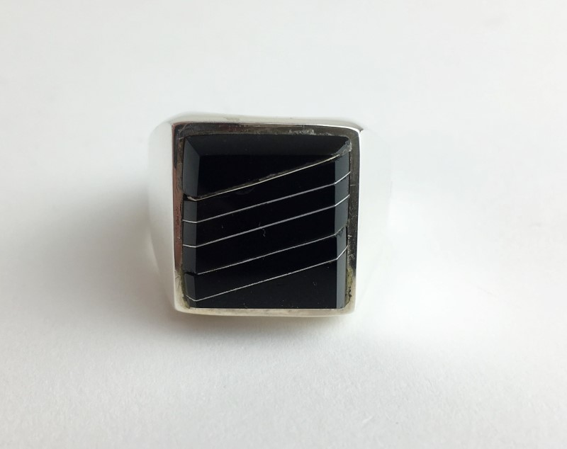Black Onyx Sterling Silver Ring  21.3g