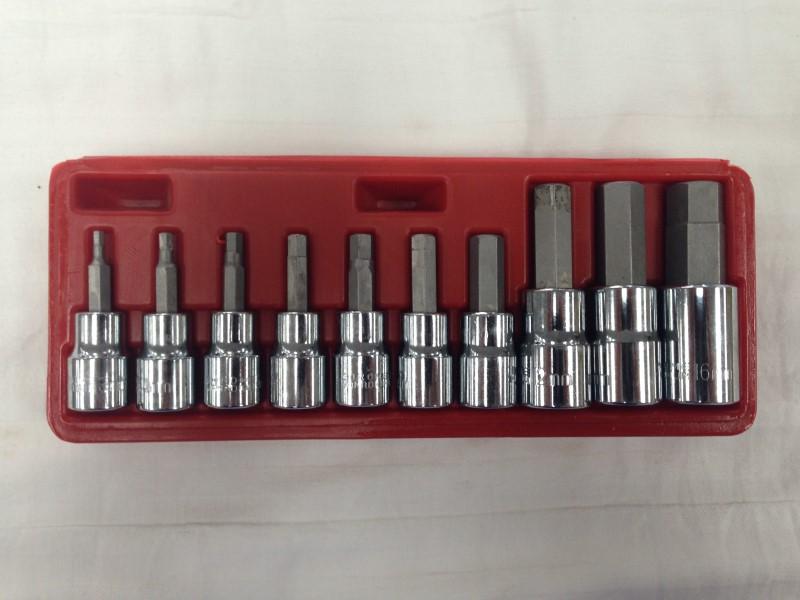 "10pc 3/8"" & 1/2"" Drive Metric Hex Bit Socket Set Chrome Vanadium Steel Sockets"