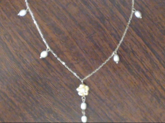 "VINTAGE 16"" PEARL BEAD DROP FLOWER NECKLACE REAL 14K YELLOW GOLD"
