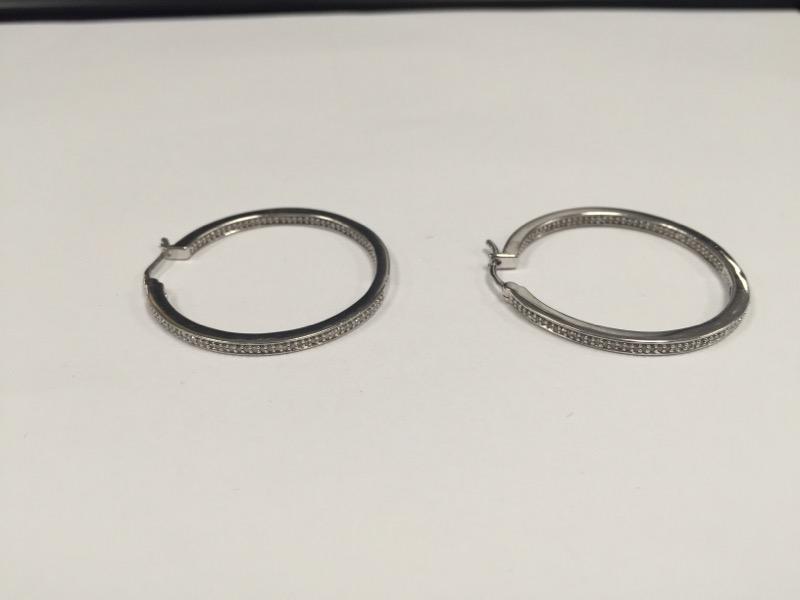 Silver-Diamond Earrings 40 Diamonds .40 Carat T.W. 925 Silver 9.2g