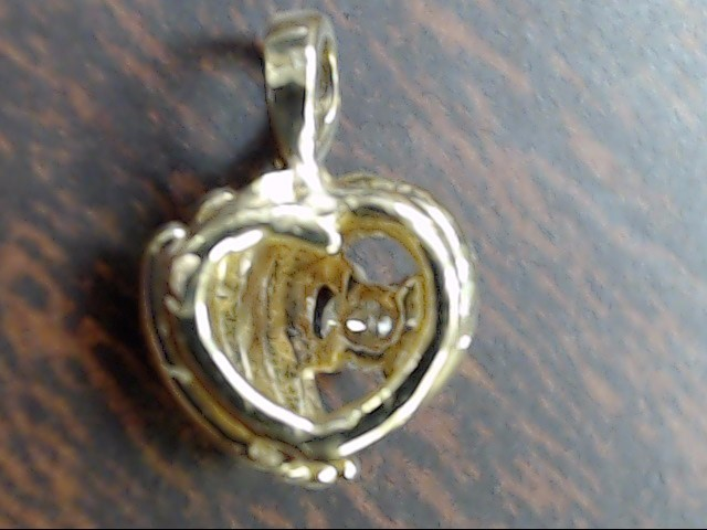 VINTAGE DIAMOND HEART CHARM PENDANT SOLID REAL 10K GOLD SMALL TINY