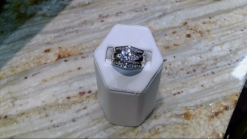 Synthetic Cubic Zirconia Lady's Stone & Diamond Ring 24 Diamonds .24 Carat T.W.