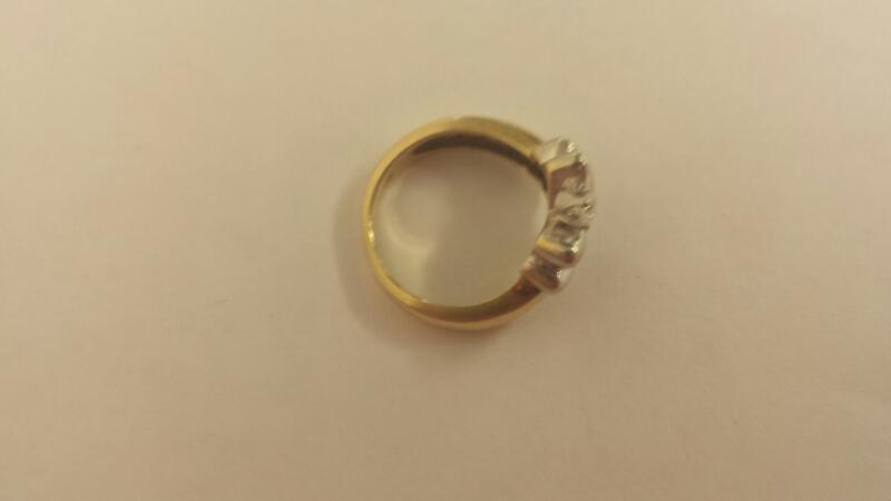 Lds 14K-Two Tone Diamond Fashion Ring 1 Round Diamond