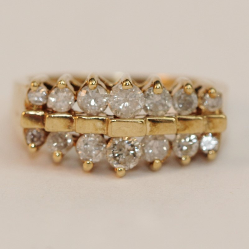 10K Yellow Gold Brilliant Diamond Bead Set Cluster Ring Size 7.3
