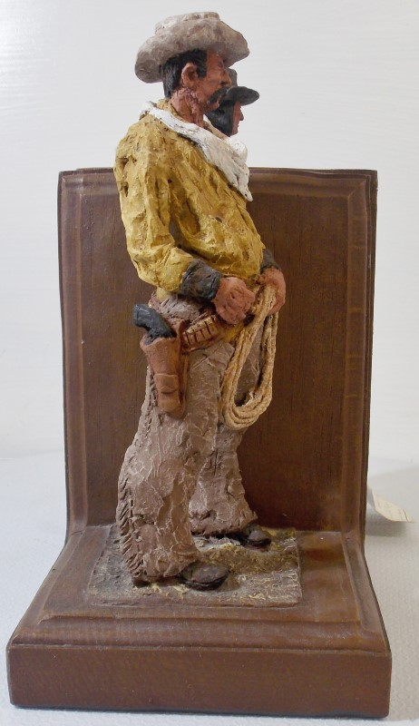 MONFORT ORIGINAL WESTERN SCULPTURE COWBOY/INDIAN BOOK ENDS