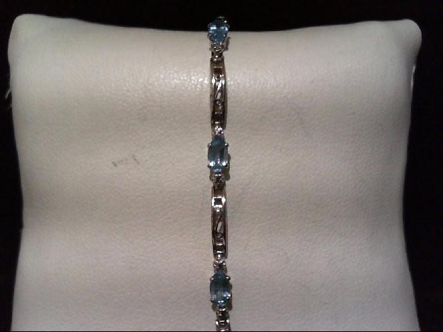 Blue Topaz Gold-Stone Bracelet 10K White Gold 3.3g