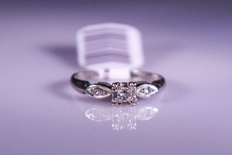 Lady's Diamond Engagement Ring 3 Diamonds .07 Carat T.W. 10K White Gold 1.7g