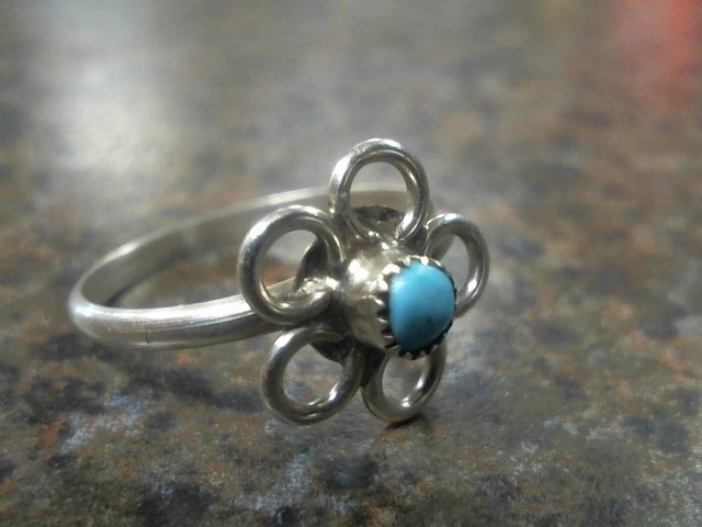 Turquoise Lady's Silver & Stone Ring 925 Silver 1g