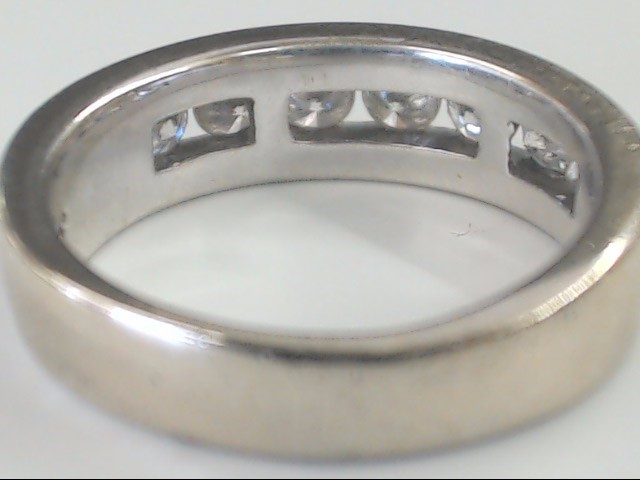 VINTAGE NATURAL DIAMOND WED RING BAND SOLID 14K WHITE GOLD MEN 7.5