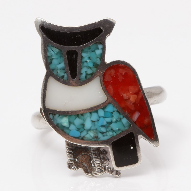 Sterling Silver Owl Ring Turquoise, Coral, Onyx & Moonstone Size 6.5