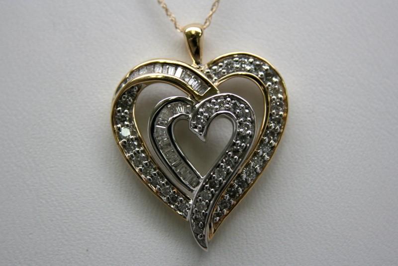 DOUBLE DIAMOND HEART PENDANT 14K YELLOW GOLD