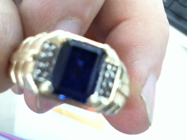 Synthetic Agate Gent's Stone & Diamond Ring 6 Diamonds .06 Carat T.W.