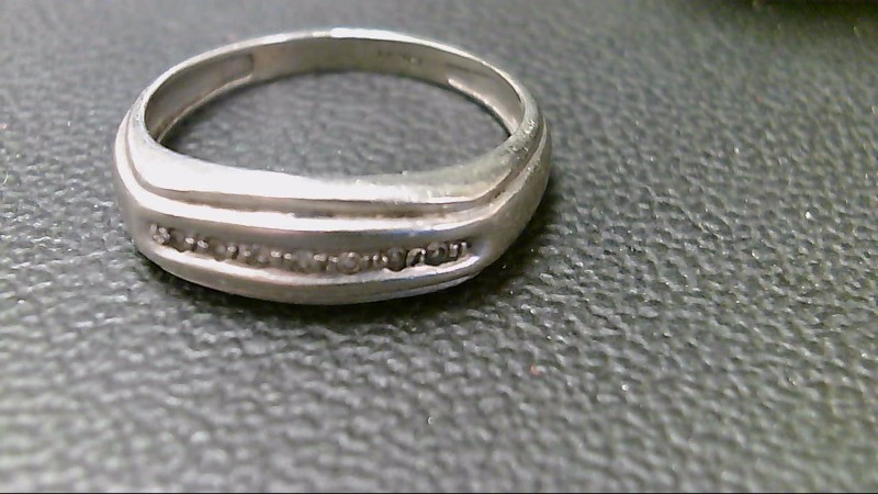Gent's Gold-Diamond Wedding Band 7 Diamonds .14 Carat T.W. 10K White Gold 2.3g