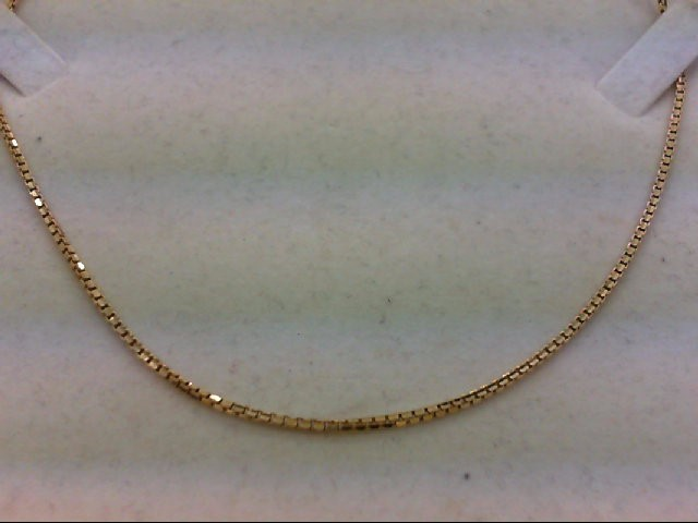 "22"" Gold Box Chain 18K Yellow Gold 7.6g"
