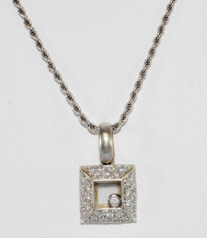 "18"" 18K White Gold Square Shaped Floating Diamond Necklace w/ Rope"