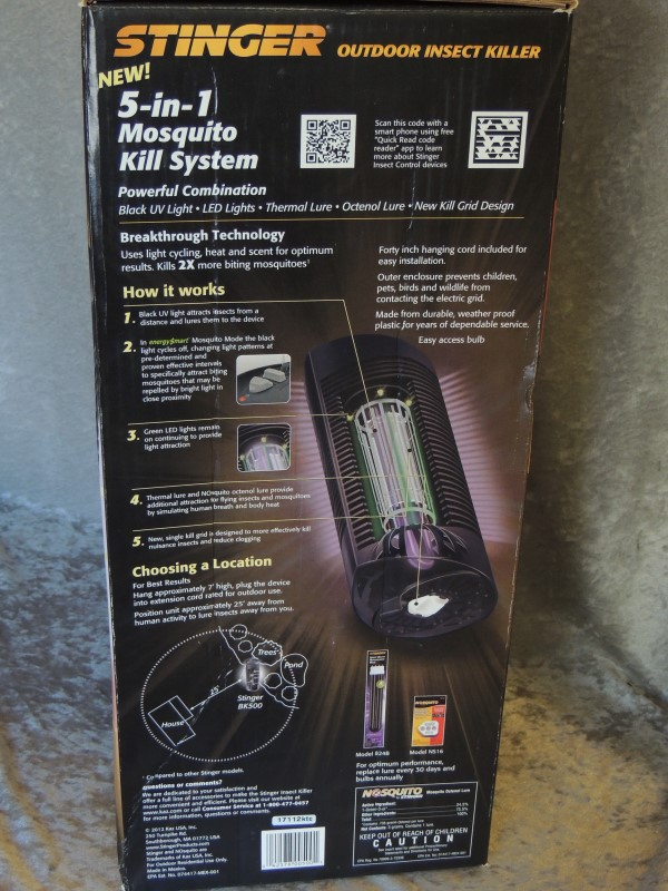 NEW- Stinger Outdoor Insect Mosquito Killer 5 in 1 Black Light BK500