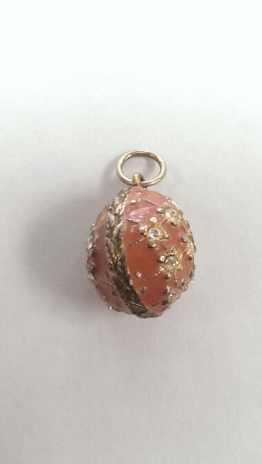 FABERGE INSPIRED CORAL AND CZ EGG PERFECT FOR EASTER
