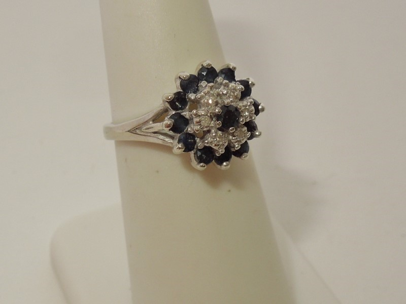 Synthetic Sapphire Lady's Stone & Diamond Ring 6 Diamonds .06 Carat T.W.