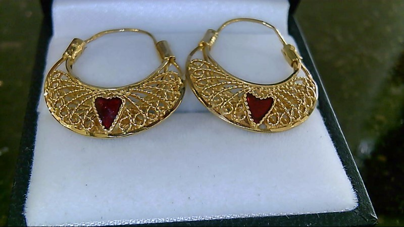 21K Yellow Gold Ruby & Emerald Heart Earrings