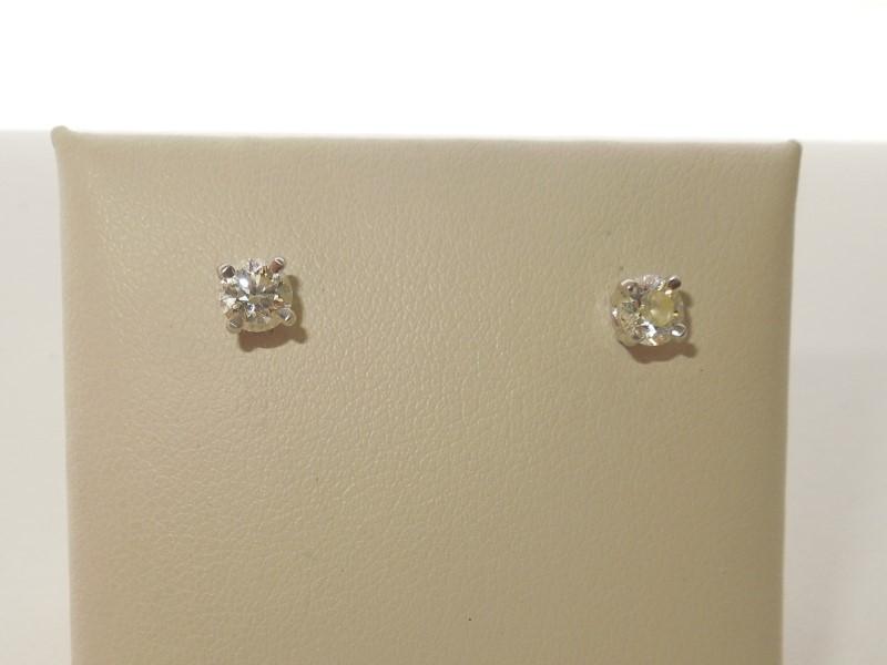 Platinum-Diamond Earrings 2 Diamonds .60 Carat T.W. 950 Platinum 1.6g