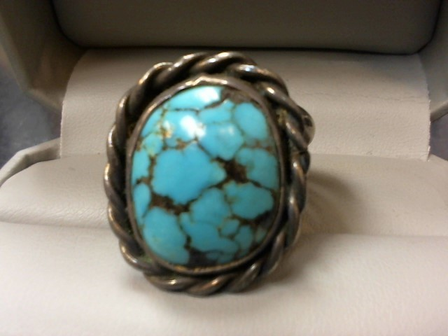 Turquoise Gent's Silver & Stone Ring 925 Silver 17g