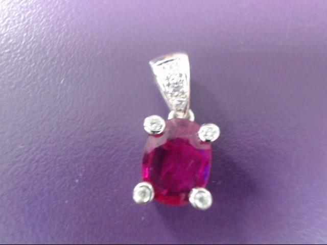 Ruby Gold-Diamond & Stone Pendant 7 Diamonds .14 Carat T.W. 18K White Gold