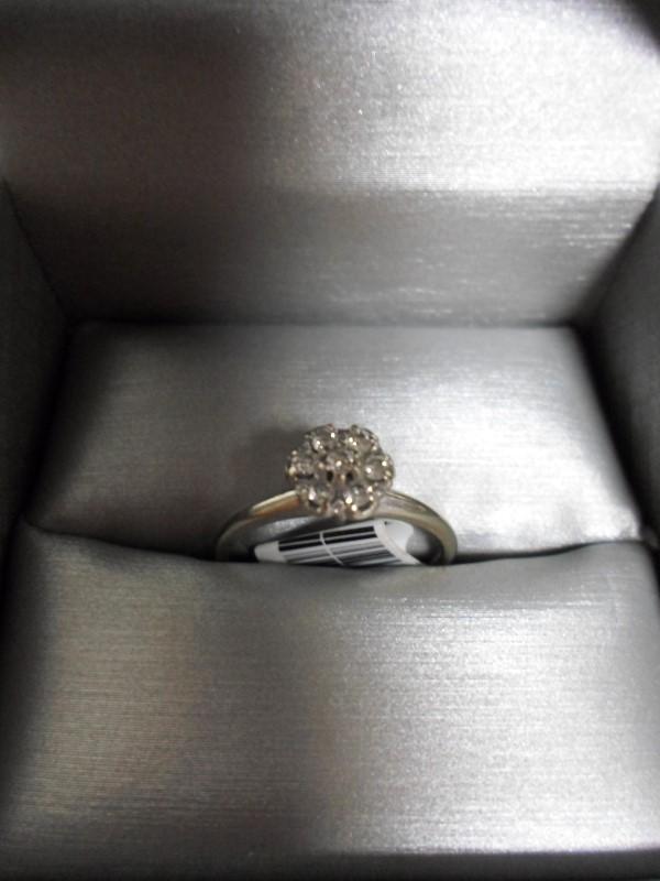 Lady's Diamond Cluster Ring 5 Diamonds .35 Carat T.W. 14K White Gold 2.5g