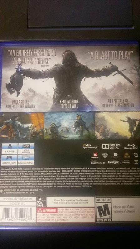 Sony PlayStation 4 MIDDLE EARTH SHADOW OF MORDOR VIDEO GAME