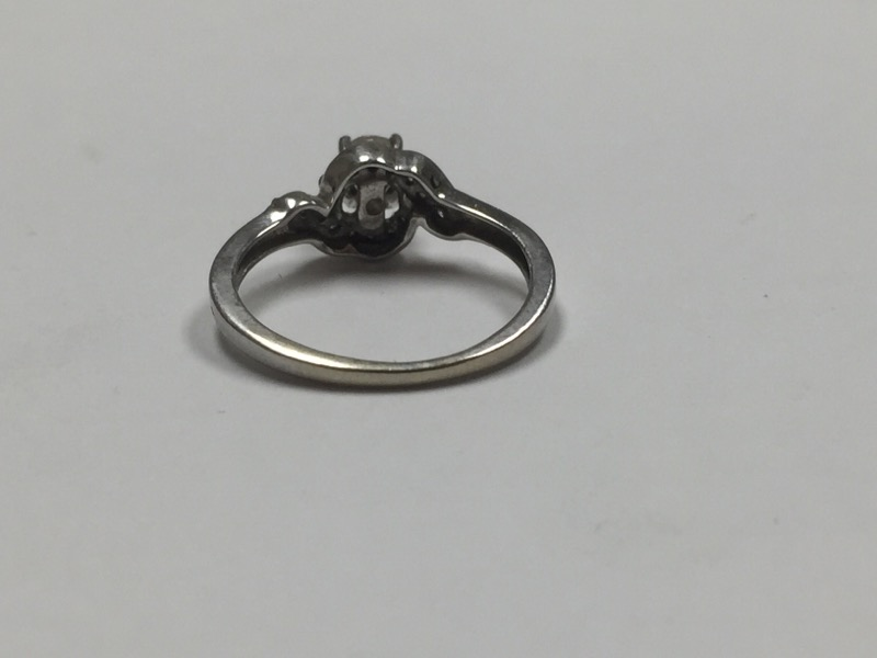 Lady's Diamond Solitaire Ring 15 Diamonds .37 Carat T.W. 10K White Gold 1.2dwt