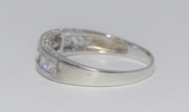Sterling Silver Channel Set Princess CZ w/ Side Detail Wedding Band Ring sz 10