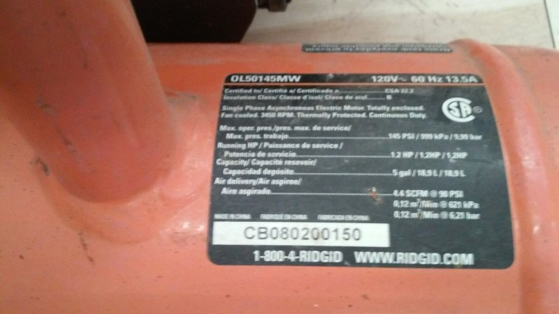 RIDGID TOOLS Air Compressor OL50145MW